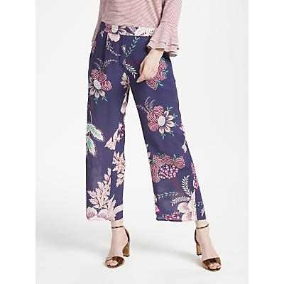 Marella Bird Print Wide Leg Silk Trousers, Navy