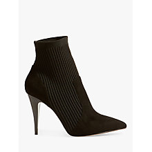 Buy Karen Millen Knitted Stretch Stiletto Heel Sock Boots, Black Online at johnlewis.com