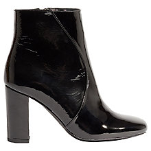 Buy Karen Millen Patent Block Heel Ankle Boots, Black Online at johnlewis.com
