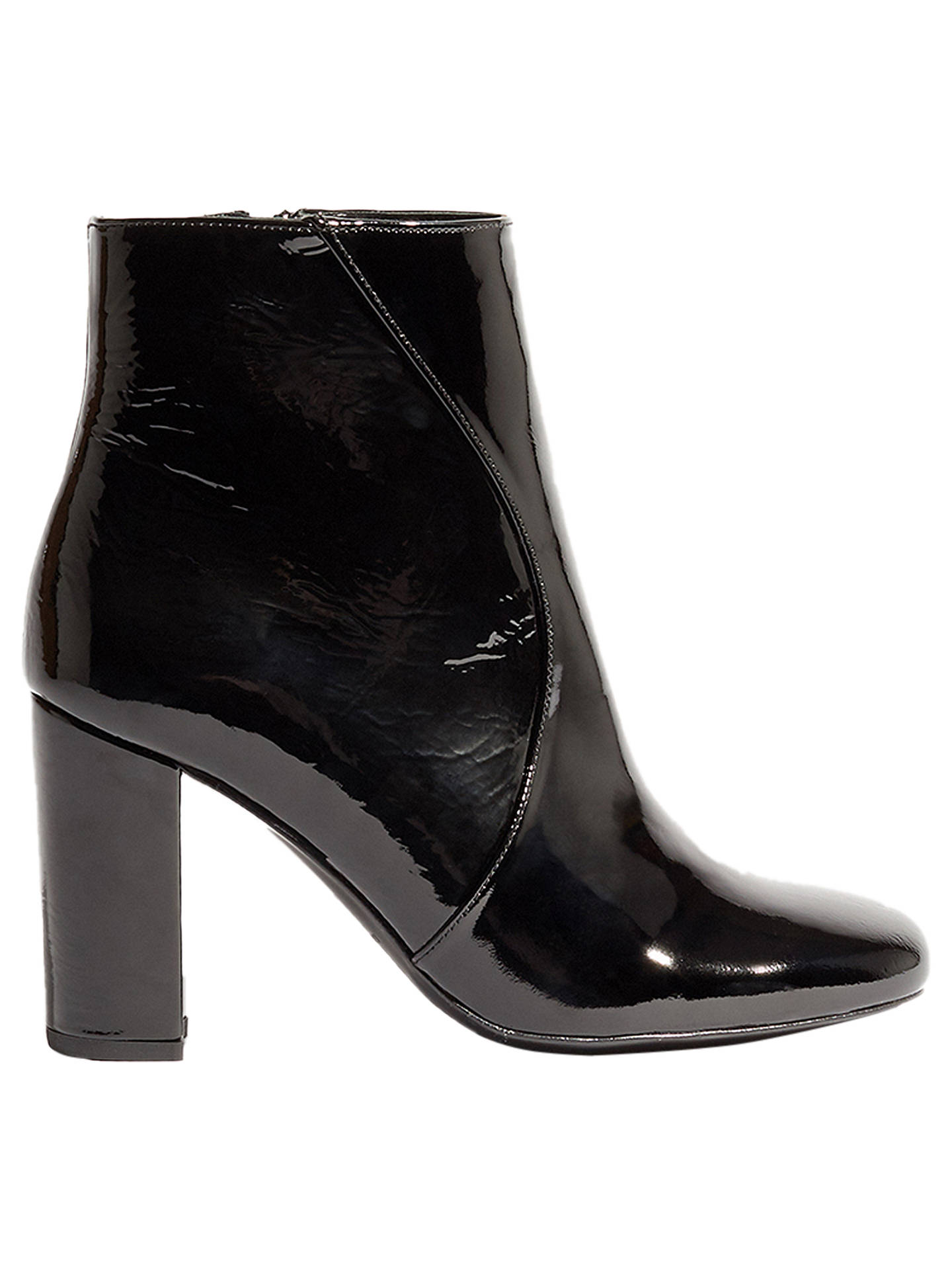 0d9ea47a68e Buy Karen Millen Patent Block Heel Ankle Boots, Black, 7 Online at  johnlewis.