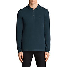 Buy AllSaints Reform Long Sleeve Polo Shirt, Oil Blue Online at johnlewis.com