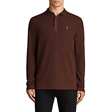 Buy AllSaints Clash Long Sleeve Polo Shirt, Burnt Red Online at johnlewis.com
