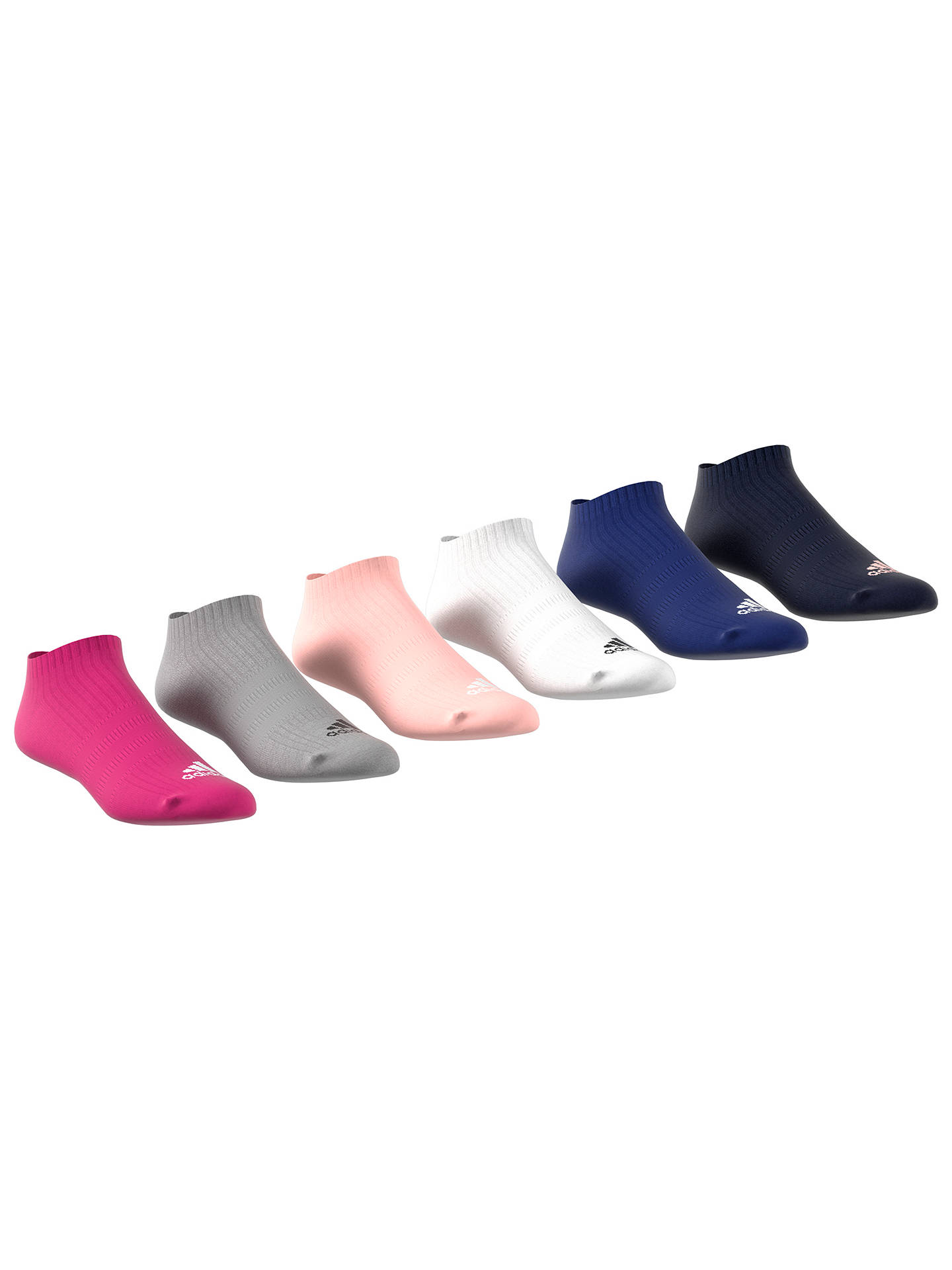 Buy adidas Trainer Socks, Pack of 6, Multi, S-M Online at johnlewis.com