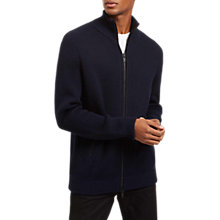 Buy Jaeger Wool Full Zip Cardigan, Navy Online at johnlewis.com