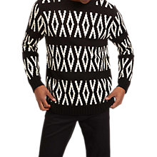 Buy Jaeger Wool Fair Isle Jumper, Black Online at johnlewis.com
