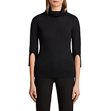 Buy AllSaints Raven Funnel Neck Cashmere Jumper, Black Online at johnlewis.com