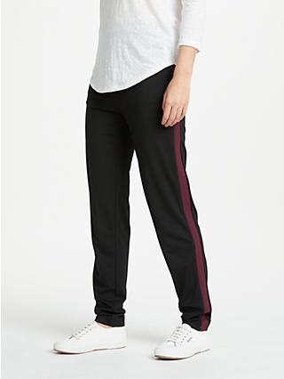 Winser London Sporty Side Stripe Trousers, Black/Rich Berry