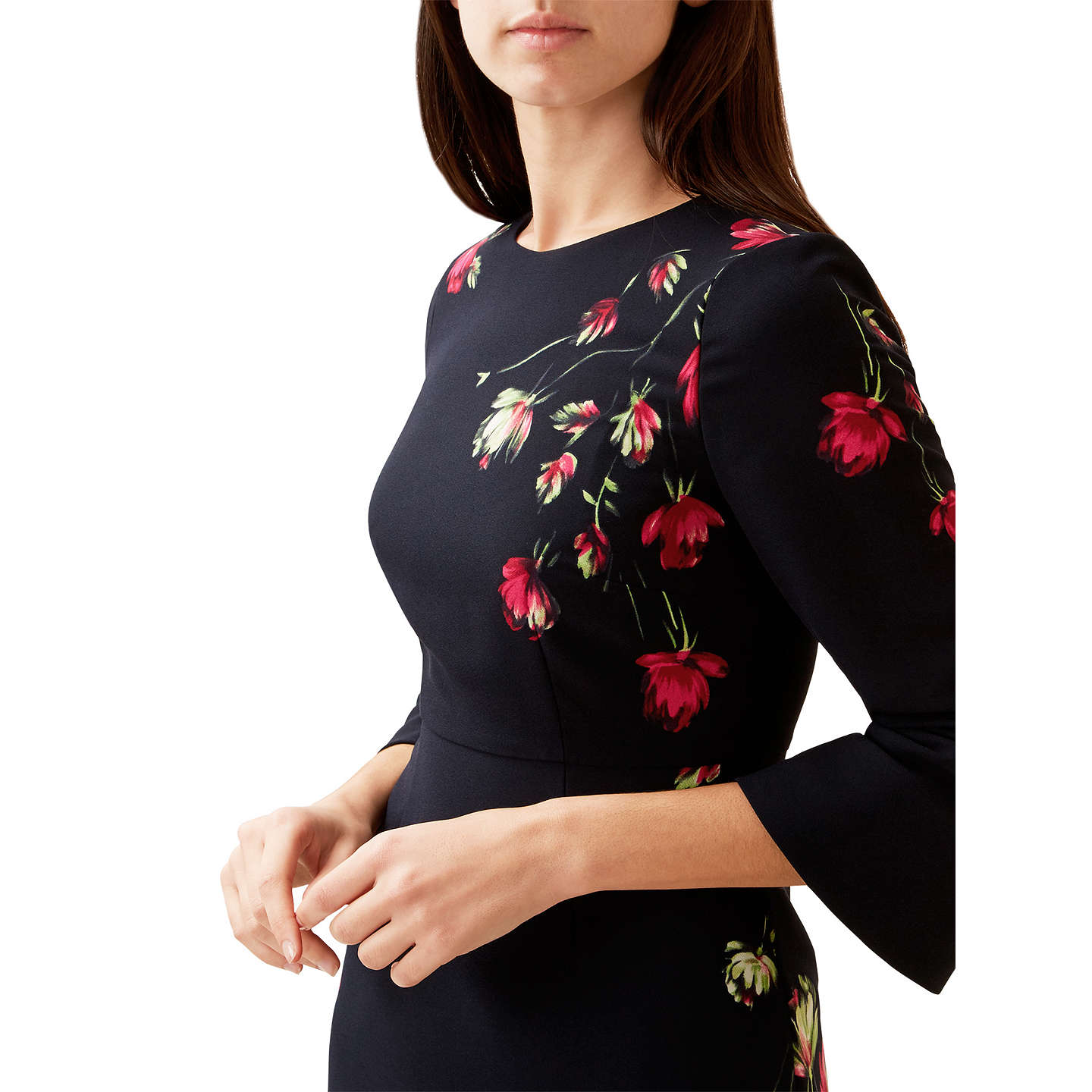 BuyHobbs Multi Painted Rose Dress, Blue/Red, 6 Online at johnlewis.com