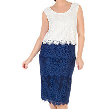 Buy Chesca Eyelash Trim Lace Dress, Riviera Blue/Ivory Online at johnlewis.com