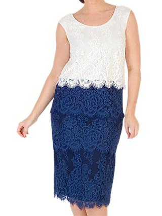 Chesca Eyelash Trim Lace Dress, Riviera Blue/Ivory