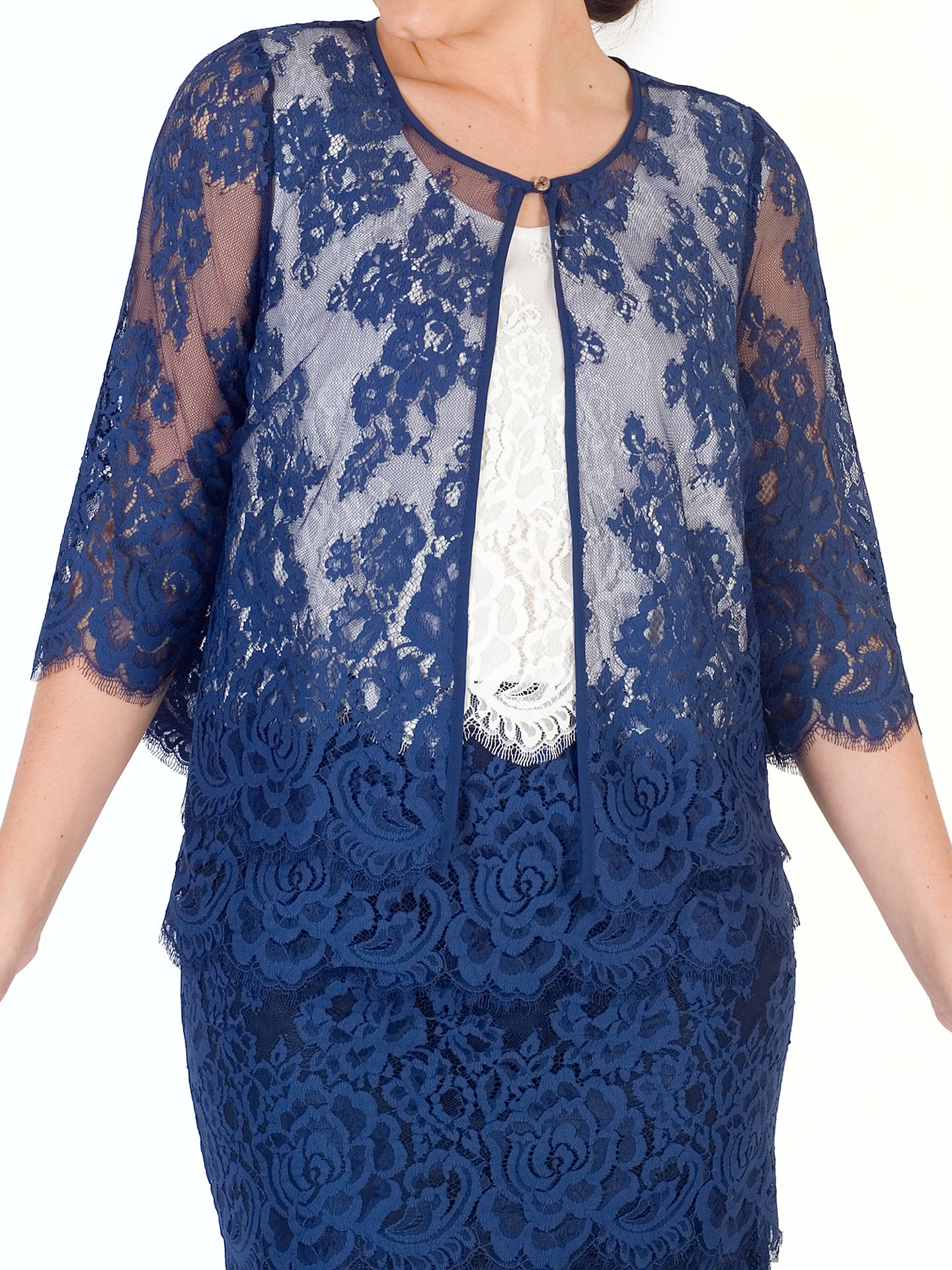 BuyChesca Eyelash Trim Lace Jacket, Riviera Blue, 12 Online at johnlewis.com