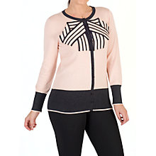 Buy Chesca Striped Bow Cardigan, Blush Online at johnlewis.com