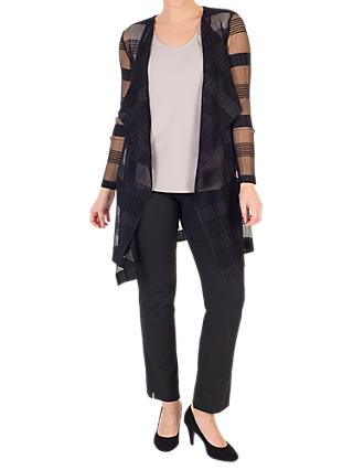 Chesca Sheer Stripe Crush Pleat Jacket, Black