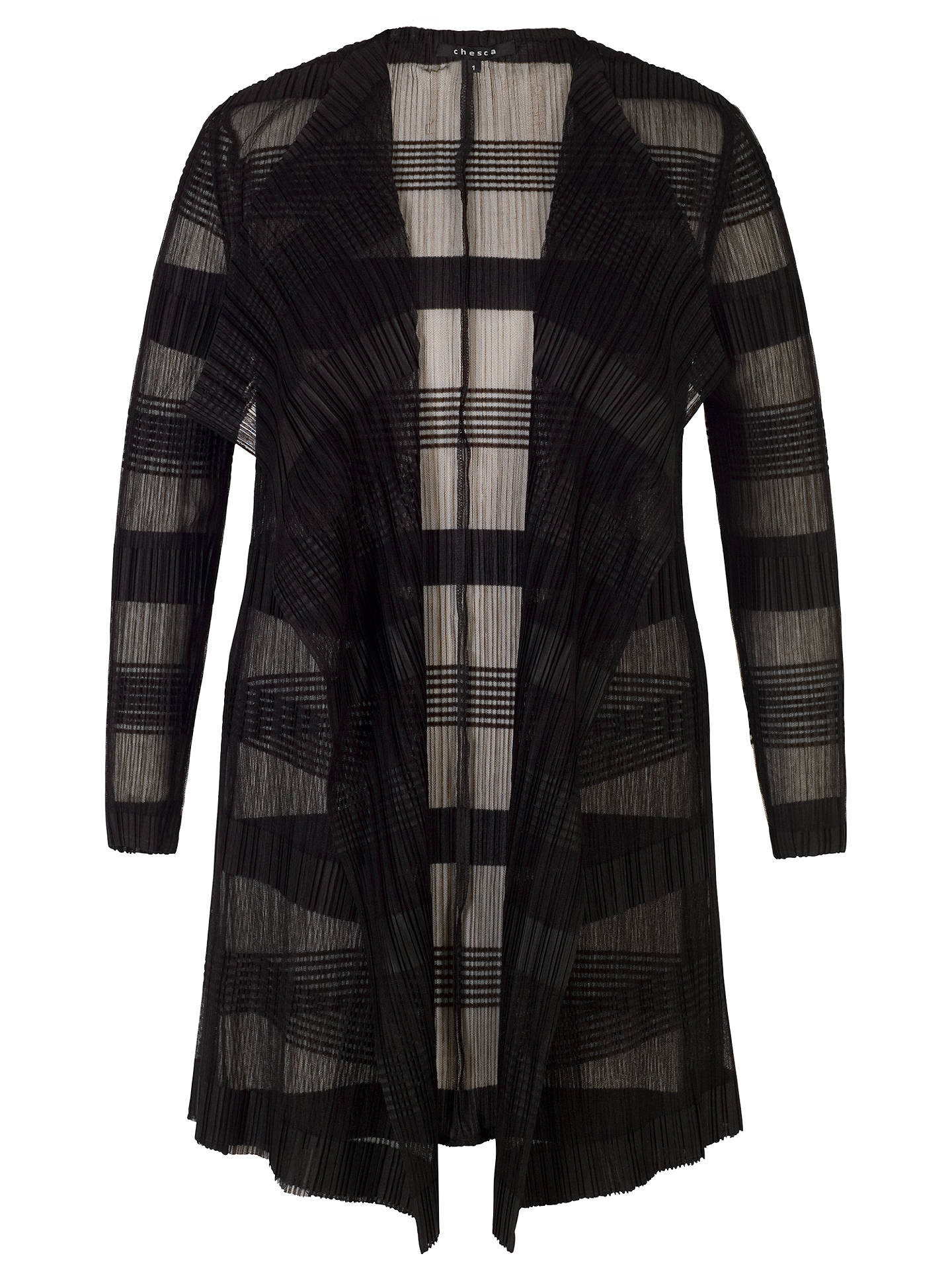 BuyChesca Sheer Stripe Crush Pleat Jacket, Black, 12-14 Online at johnlewis.com