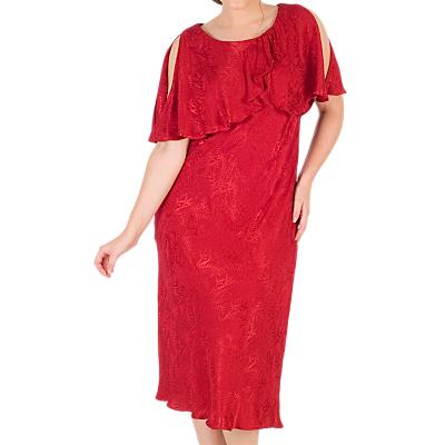 Chesca Satin Back Crepe Jacquard Dress, Ruby