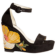 Buy Karen Millen Embroidered Wedge Heel Sandals, Black Online at johnlewis.com