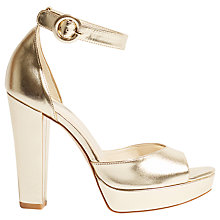 Buy Karen Millen Platform Block Heel Sandals, Gold Online at johnlewis.com