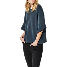 Buy Selected Femme Lizzy Ruffle Sleeve Top, Navy Online at johnlewis.com