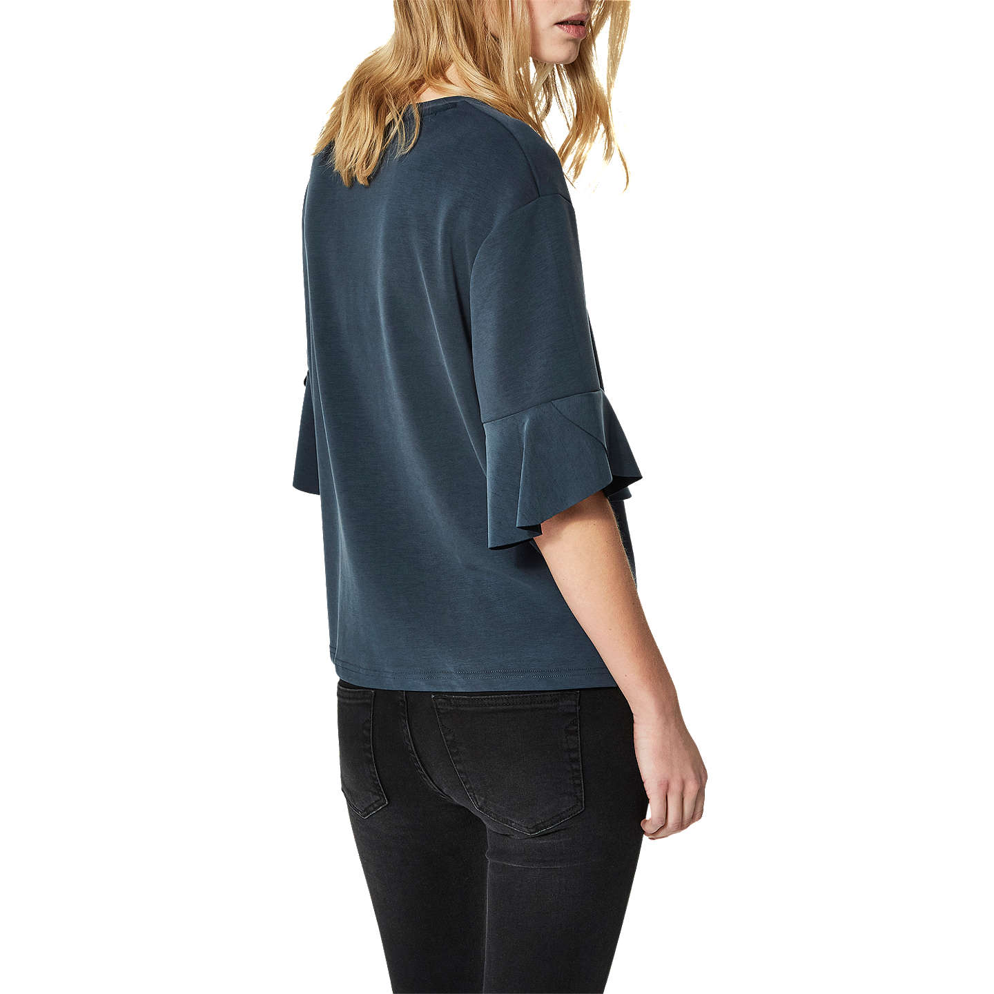 Selected Lizzy Ruffle Sleeve Top, Navy