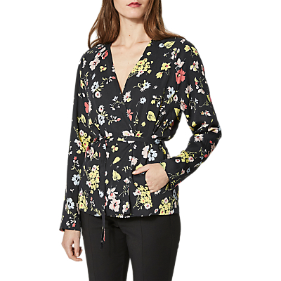 Selected Femme Florisa Belted Coat, Black Flower