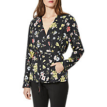 Buy Selected Femme Florisa Belted Coat, Black Flower Online at johnlewis.com