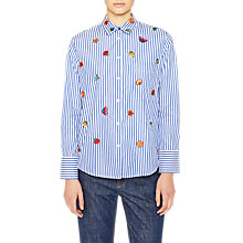 Buy PS Paul Smith Embroidered Kyoto Floral Stripe Shirt, Blue Online at johnlewis.com