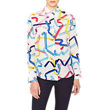 Buy PS Paul Smith Ribbon Print Silk Shirt, White Online at johnlewis.com