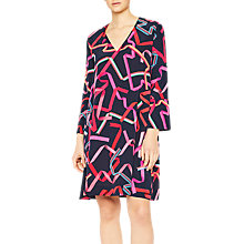 Buy PS Paul Smith Ribbon Print Silk Dress, Navy Online at johnlewis.com