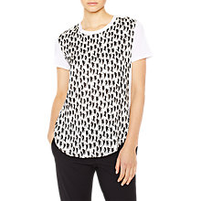 Buy PS Paul Smith Silk Mix Cat Print T-Shirt, Cream/Black Online at johnlewis.com