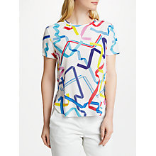Buy PS Paul Smith Ribbon Print Silk Top, White Online at johnlewis.com