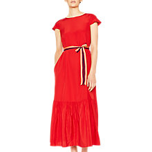 Buy PS Paul Smith Midi Pleated Hem Silk Dress, Red Online at johnlewis.com