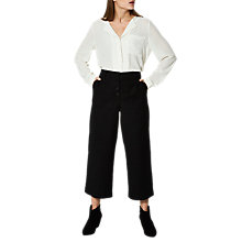 Buy Selected Femme Sfrose Cropped Trousers, Black Online at johnlewis.com