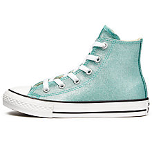 Buy Converse Children's Chuck Taylor All Star Hi-Top Glitter Trainers, Aqua Online at johnlewis.com