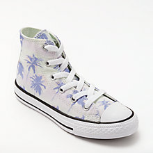Buy Converse Chuck Taylor All Star Palm Tree Hi-Top Trainers, Green/Lilac Online at johnlewis.com