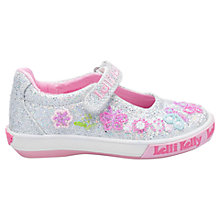 Buy Lelli Kelly Children's Glitter Butterfly Dolly Shoes, Silver Online at johnlewis.com