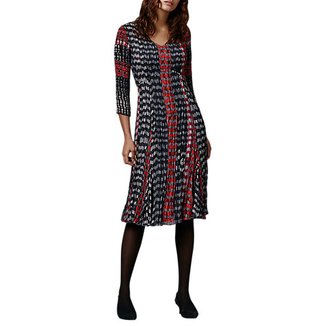 Buy East Inez Print Pleat Dress, Indigo Online at johnlewis.com