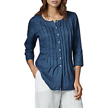 Buy East Linen Loose Pintuck Blouse, Ink Online at johnlewis.com