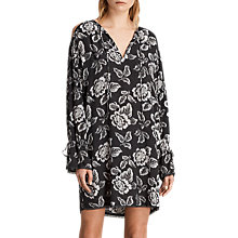 Buy AllSaints Aster Kasuri Dress, Washed Black Online at johnlewis.com