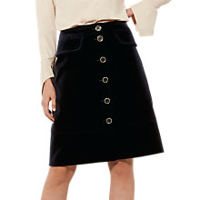Buy Karen Millen Cotton Velvet Skirt, Navy Online at johnlewis.com