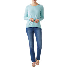 Buy Pure Collection Cashmere Stepped Hem Jumper, Aqua Online at johnlewis.com