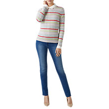 Buy Pure Collection Striped Crew Neck Cashmere Jumper, Candy Stripe Online at johnlewis.com