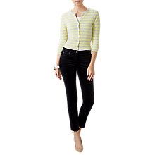 Buy Pure Collection Cashmere Cropped Stripe Cardigan, Marble/Fresh Lime Online at johnlewis.com