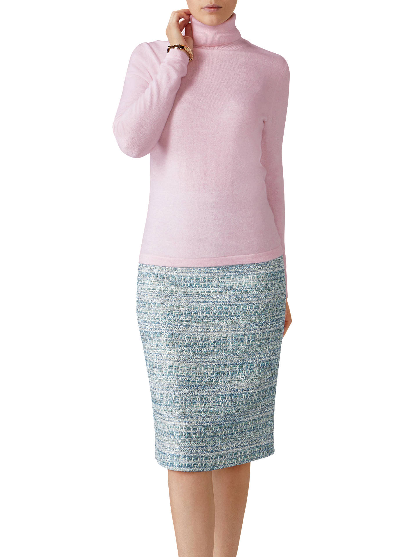 Pure Collection Cashmere Roll Neck Jumper, Rose Mist at John Lewis ...
