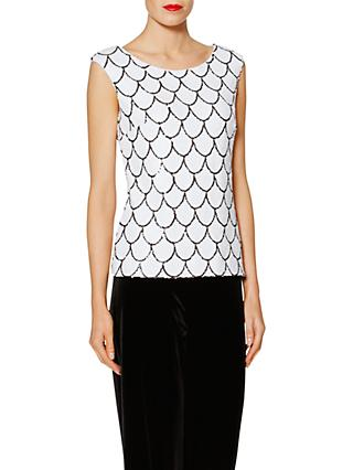 Gina Bacconi Melinda Scallop Sequin Top