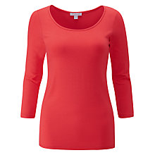 Buy Pure Collection Soft Jersey Scoop Neck Top, Coral Online at johnlewis.com