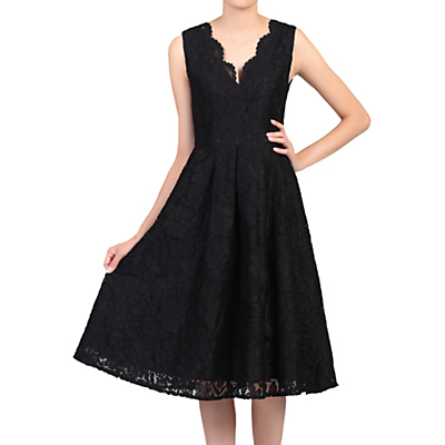 Product photo of Jolie moi scalloped vneck lace prom dress black