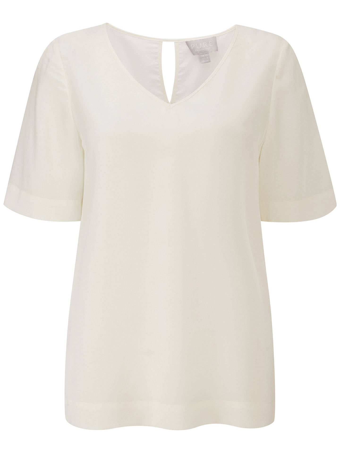 BuyPure Collection Silk V-Neck Top, Ivory, 8 Online at johnlewis.com