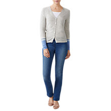 Buy Pure Collection Striped Cuff Cashmere Cardigan, Iced Grey/Striped Online at johnlewis.com