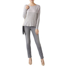 Buy Pure Collection Striped Dipped Hem Jumper, Heather Dove/Rosemist Online at johnlewis.com