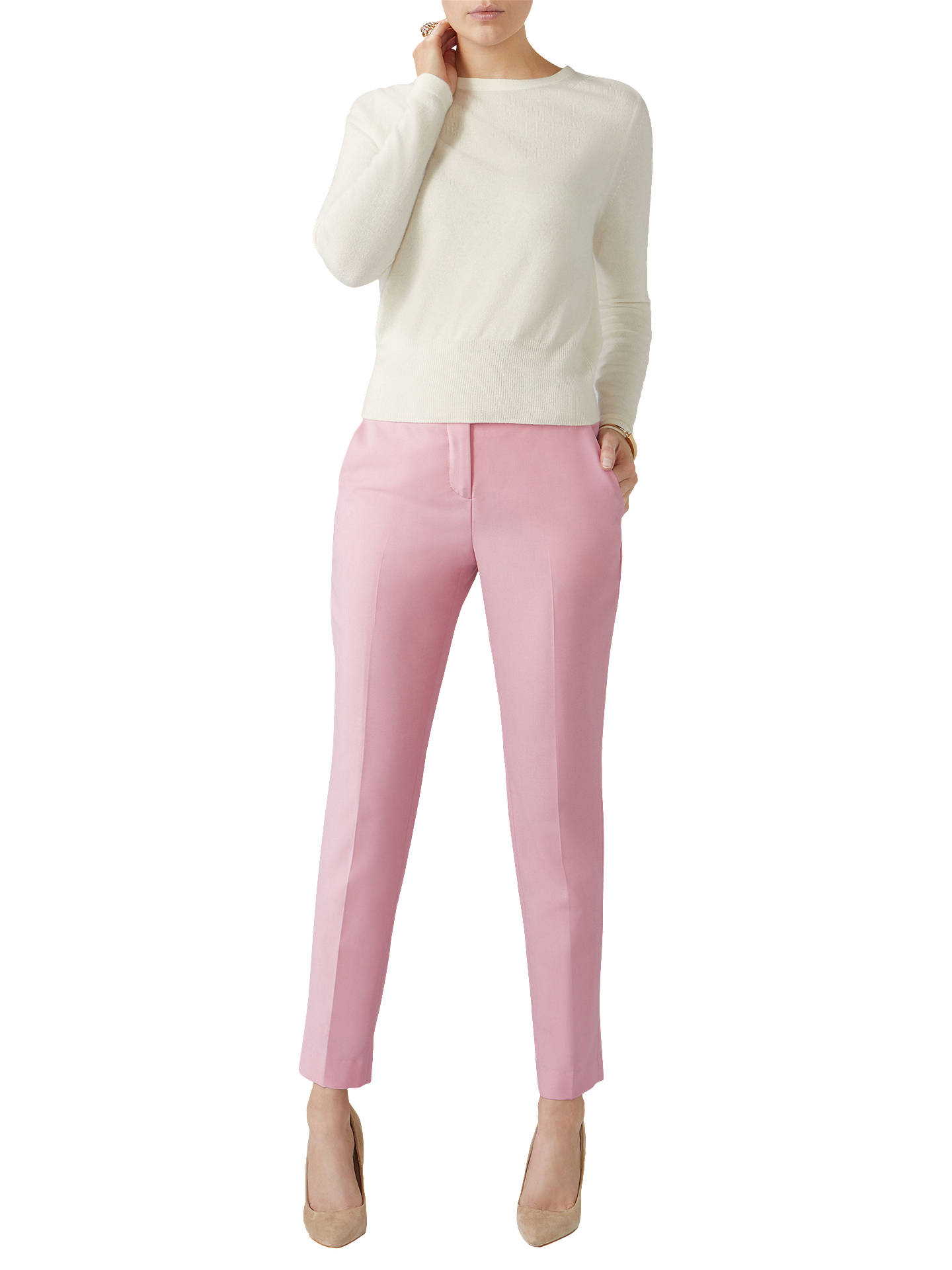 BuyPure Collection Tailored Ankle Length Trousers, Pink, 20 Online at johnlewis.com